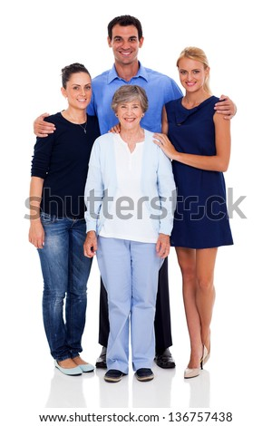 happy senior mother and her adult children studio portrait isolated on white - stock photo