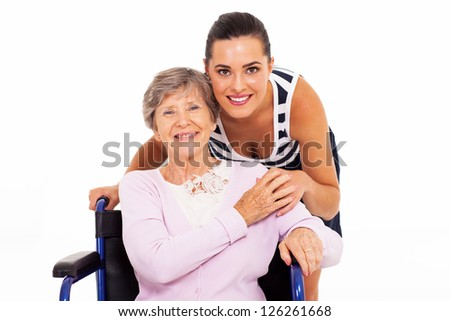 happy senior mother with her adult daughter isolated on white - stock photo