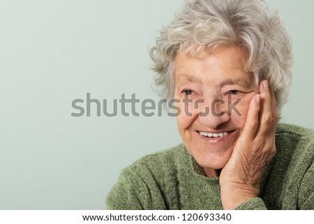Happy senior portrait - stock photo