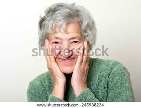 Happy senior portrait grandmother - stock photo