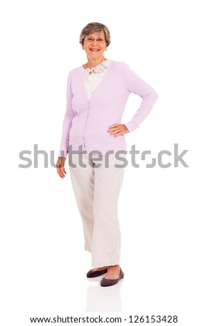 happy senior woman full length portrait on white - stock photo