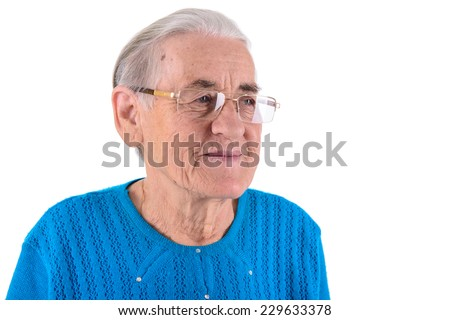 happy senior woman in glasses.portrait isolated on white background - stock photo