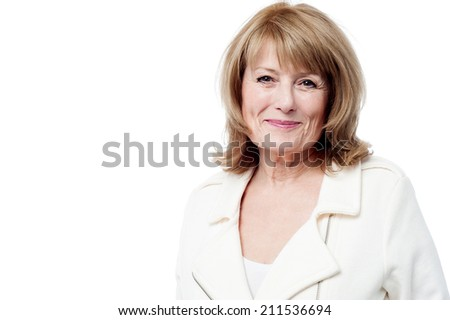 Happy senior woman, isolated on white - stock photo