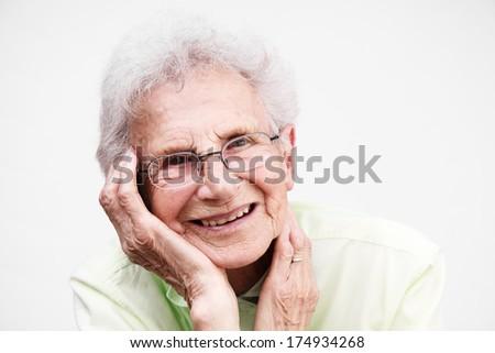 Happy senior woman portrait. - stock photo