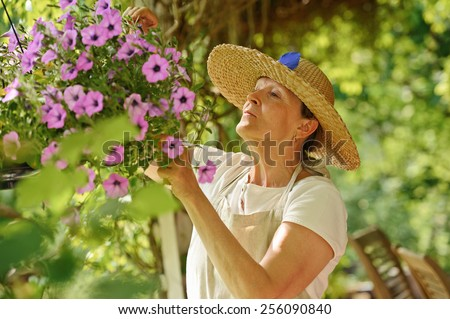 Happy senior woman tends the flowers in a hanging pot. There is a green background of blurred plants, and wooden outdoor chairs are visible in the lower right corner. - stock photo