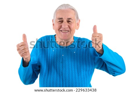 happy senior woman thumbs up.portrait isolated on white background - stock photo