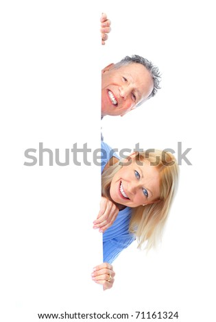 happy seniors couple holding a white placard