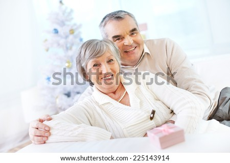 Happy seniors looking at camera and smiling on background of Christmas tree - stock photo