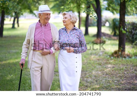 Happy seniors talking while taking a walk in the park - stock photo
