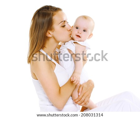 Happy sensual mother and baby - stock photo