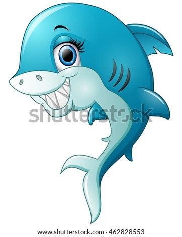 Happy shark cartoon isolated on white background