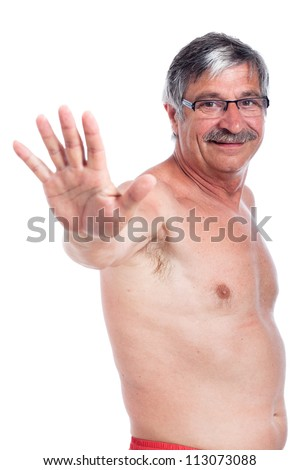 Happy shirtless senior man gesturing with hand, isolated on white background.