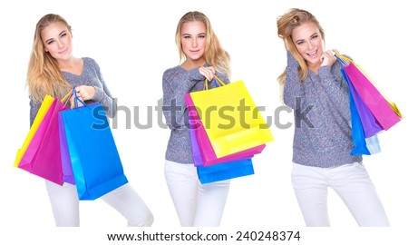 Happy shopper girl collage, cute female in different poses with colorful shopping bags isolated on white background, sale season concept - stock photo