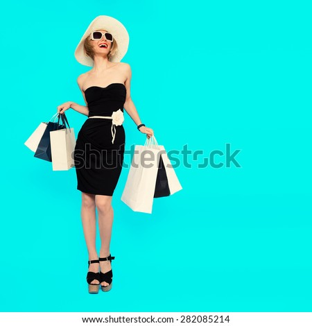 Happy Shopping. Glamorous Summer Lady. - stock photo