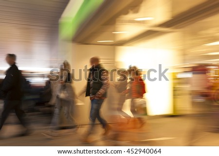 Happy shopping, people walking, motion blur, cross balance
