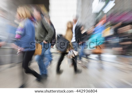 Happy shopping, shopping spree in city, motion blur, zoom effect