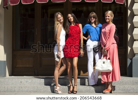 Happy shopping women walking at the mall  - stock photo