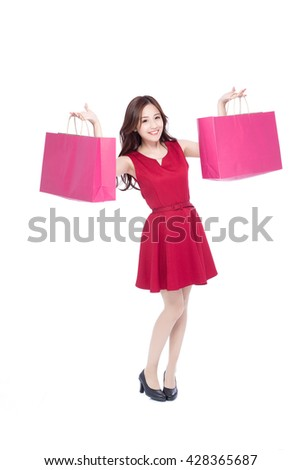 happy shopping young woman show bags