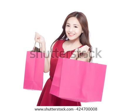 happy shopping young woman show bags - isolated on white background, asian model beauty - stock photo