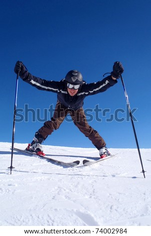 Happy skier on the slope