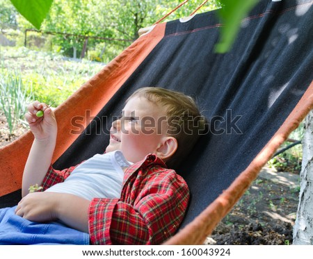 Happy small boy with a lovely smile relaxing in a hammock in the shade of tree in the garden during the summer heat - stock photo