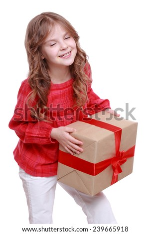 Happy small girl in  with present gift/Caucasian happy child girl with gift box