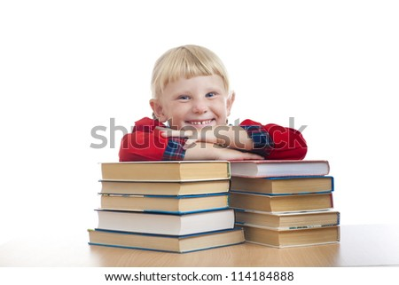 happy small girl with books