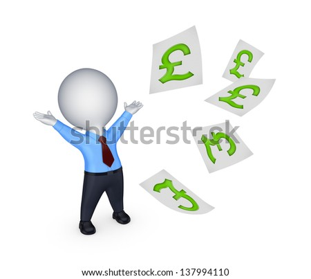 Happy small person with sign of pound sterling.Isolated on white.3d rendered.