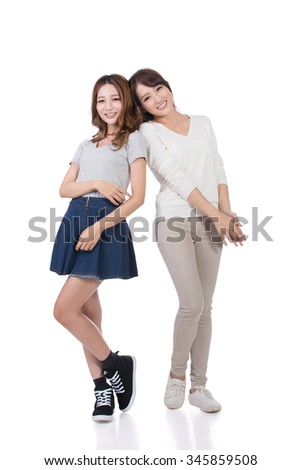 Happy smile Asian women, full length portrait isolated. - stock photo