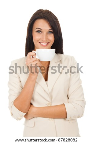 happy smile business woman hold cup of coffee isolated over white background - stock photo
