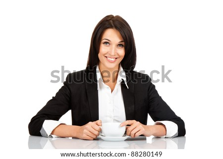 happy smile business woman hold cup of coffee sitting at the desk, isolated over white background