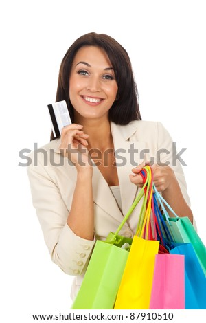 Happy smile business woman holding colorful shopping bags isolated over white background