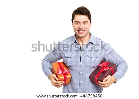 Happy smile man hold gift box in hand on white background.