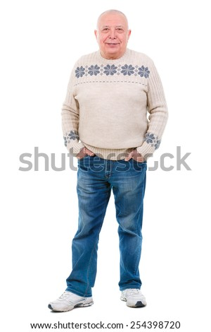 Happy smile senior old man with white teeth and hands in jeans pocket, isolated against white - stock photo