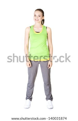 Happy smiling active woman in sports clothes