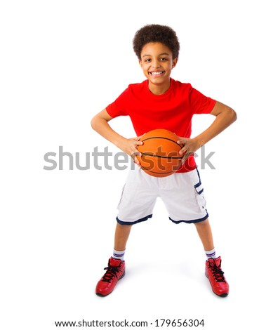 Happy smiling African American teenager with basketball, player. Full body portrait. Isolated, over white background, with copy space.  - stock photo