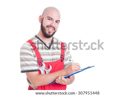 Happy smiling and friendly mechanic holding clipboard isolated on white studio background