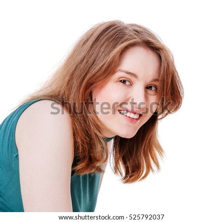 Happy smiling attractive young woman head shot looking at camera isolated