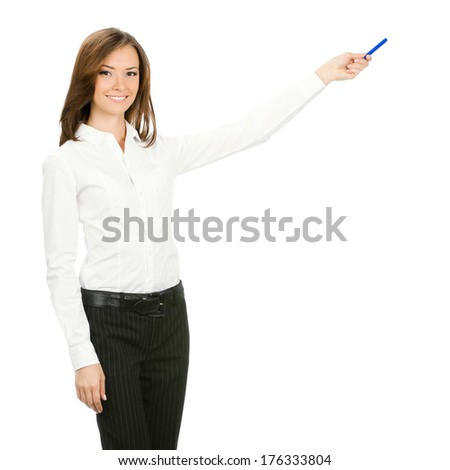 Happy smiling beautiful young cheerful business woman showing something, isolated on white background - stock photo