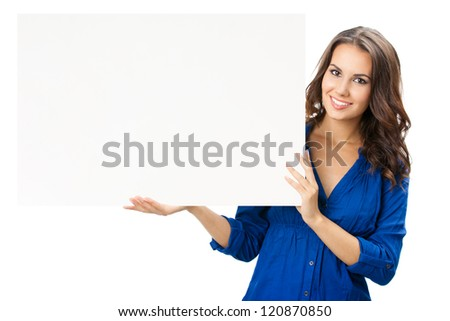 Happy smiling beautiful young woman showing blank signboard or copyspace, isolated over white background - stock photo