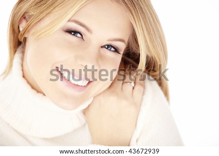Happy smiling blonde, isolated on a white background - stock photo