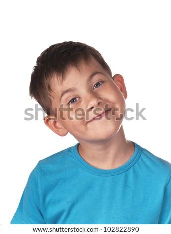 Happy smiling boy  isolated on white background - stock photo