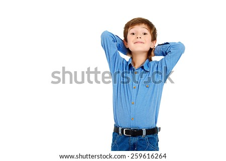 Happy smiling boy over white background. Happy childhood. Isolated photo. Copy space. - stock photo