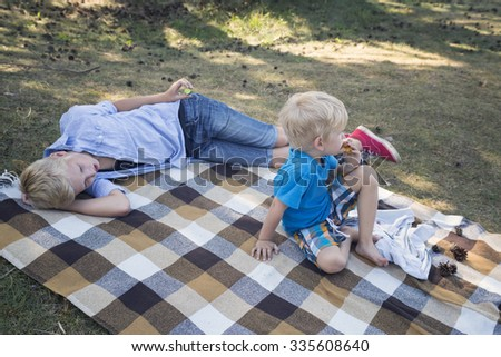 Happy smiling boys lying together on rug in cage. Picnic in park concept.