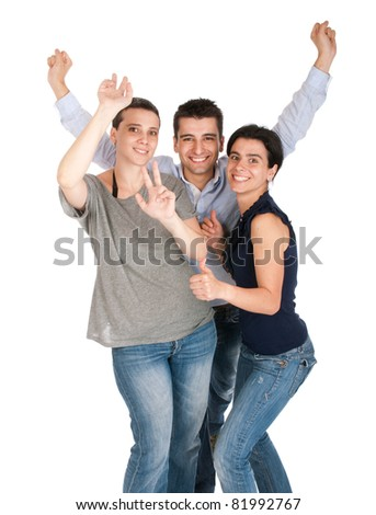 happy smiling brother and sisters having fun celebrating something, cheering and gesturing (isolated on white background)
