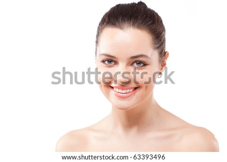Happy smiling brunette woman with healthy teeth