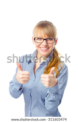 Happy smiling busies lady with thumbs up gesture