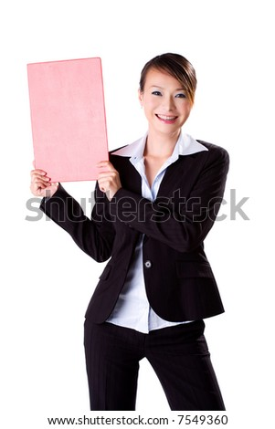 happy smiling business executive holding a F4 size blank board