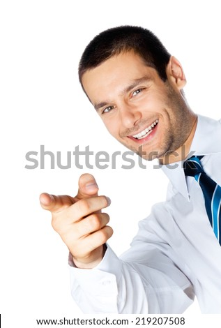 Happy smiling business man pointing, isolated on white background - stock photo