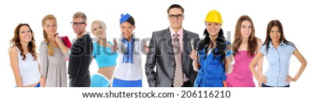 Happy smiling business team. Isolated on white background - stock photo